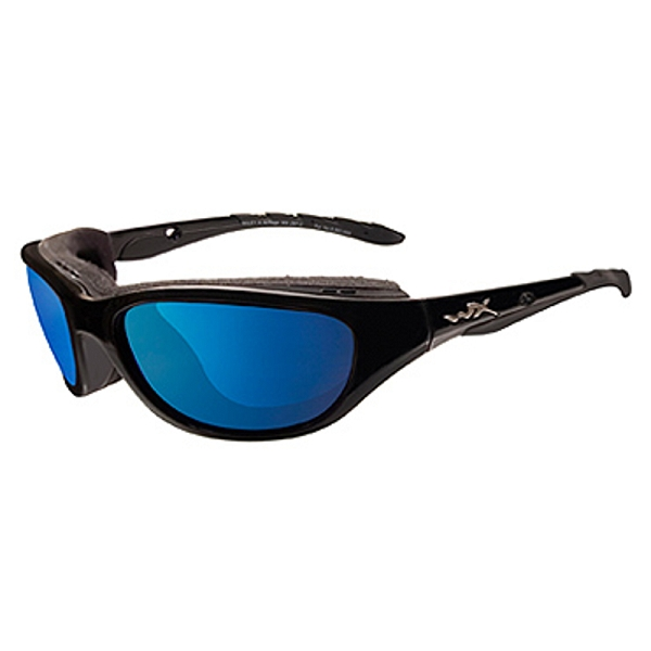 Wiley X Airrage Gloss Black / Polarized Blue Mirror