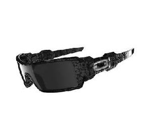 Oakley Oil Rig Polished Black with Silver Ghost Text / Black Iridium
