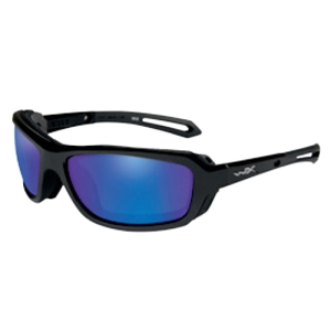 Wiley X Wave Gloss Black / Polarized Blue Mirror